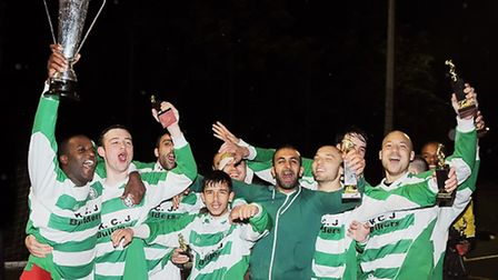 Regent's FC celebrate with the Islington Gazette Cup in 2015