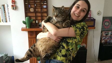 Oliver, who used to weigh the same as a two-year-old child, is now looking for a new home. Picture: