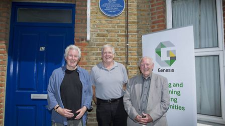 Victor Hayward's great nephews under the plaque: Peter Cundall the grandson of Victor's sister Beatr