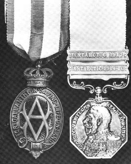 Victor Hayward's Albert and Polar Medals for his part in the Imperial Trans- Antartic Expedition 191