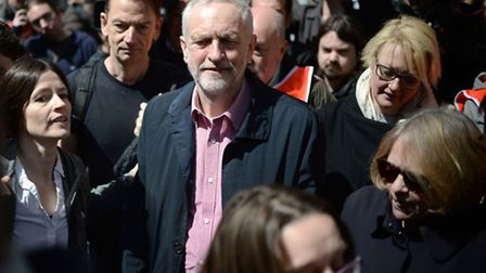 Cllr Kat Fletcher, right, next to Jeremy Corbyn at the May Day rally in Clerkenwell this month. Pict