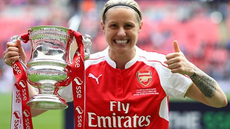 Arsenal's Kelly Smith celebrates with the SSE Women' FA Cup