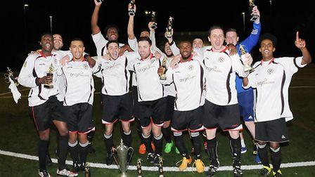 Regent Rovers celebrate after beating Regent's 3-1 to win the Islington Gazette Cup