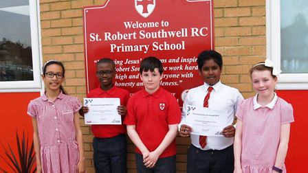 Left to right: Year six pupils Sophie Alexandrou, Duro Oshile, Callum Sheridan, Jayden Clariandas, C