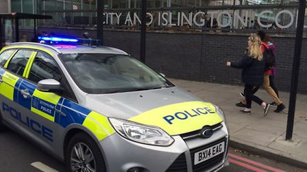 Police outside City and Islington College in Goswell Road on Monday afternoon (Picture: Ken Mears)