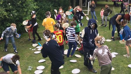 A shaving foam pie fight bought the Malorees Junior Viilage Fete to an end
