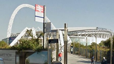 The couple were attacked outside Wembley Stadium train station (Pic: Google)