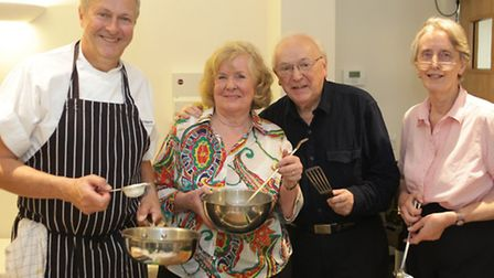 Celebrity chef Nick Nairn with Sylvia Dowle, Patrick Davidson and Joan Curtis from Springhill House,