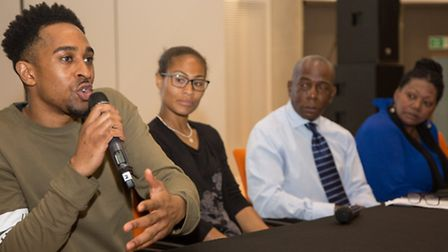 AJ King, Rachel Yankey, Tim Blanc of BHP and Liz Mitchell chaired a panel at the Stories of Brent fi