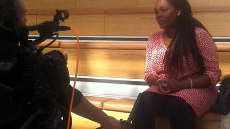 Lorraine King being interviewed for the film at Brent Civic Centre