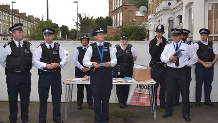 Supt Jo Walker with Hackney and Islington officers in Blackstock Road, Finsbury Park, during Operati
