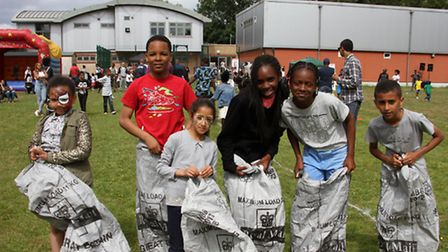 Children (and adults!!) enjoyed the sack races (Pic credit: Alphonso Grose)