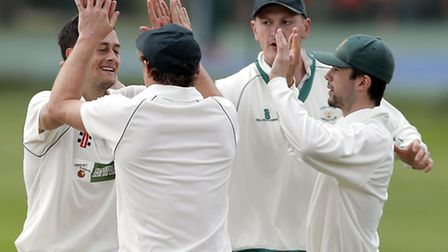 Bowler David Schout (left) is surrounded by North London team-mates after taking the wicket of South