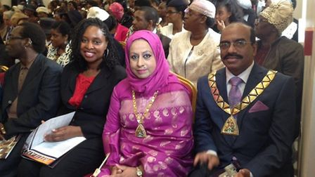 Dawn Butler MP at the opening of Beulah Apostolic Church with mayor and mayoress of Brent Lena Ahmed
