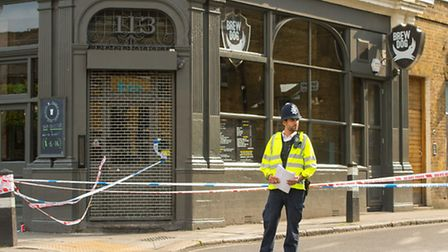 Greenland Street was cordoned off by police on Sunday. Picture: Dominic Lipinski/PA Wire
