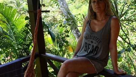 Olivia Fletcher, co-founder of Absolutely Bear, models one of the clothing line's items. Part of the