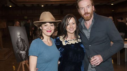 Helen McCrory & husband Damian Lewis pictured with Debbi Clark, chief executive of the charity. Pic