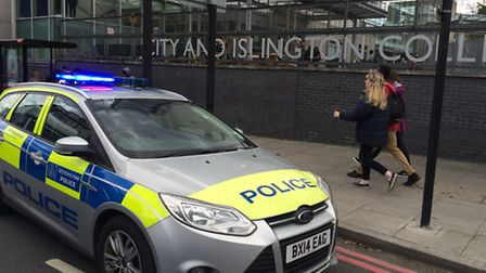 A police car outside City and Islington College on Monday. Picture: Ken Mears