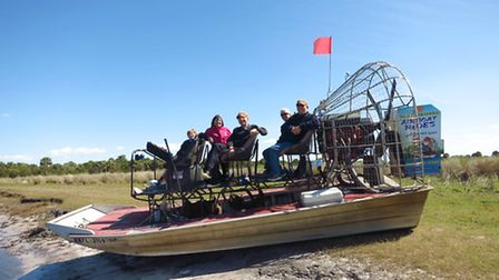 An airboat for touring the swamp in Florida