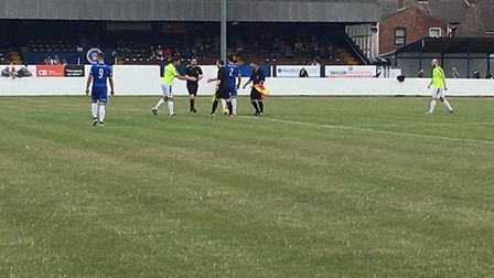 Lowestoft Town FC in pre season action at Crown Meadow prior to the start of last year's campaign. P
