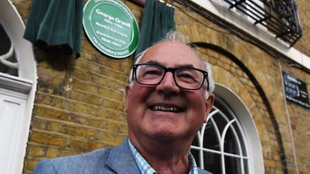 Richard Blair, the adopted son of George Orwell, unveiling a new plaque in Canonbury Square where he