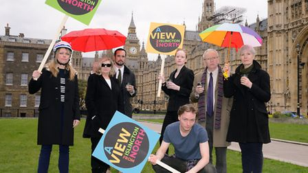 The cast of A View From Islington North outside Parliament