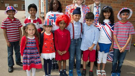 Pupils at Byron Court School dressed up in red, white and blue for the Queen's 90th birthday celebra