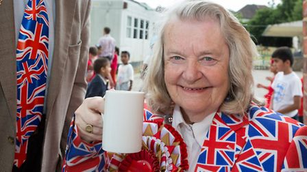 Royal collector Margaret Tyler at the Queen's 90th celebrations at Byron Court School pic credit: