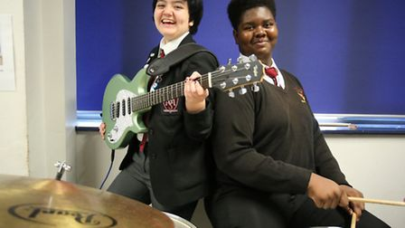 Charlie Raphael-Campbell, 16, and Evon Banton, 16, performed Spandau Ballet classic Through the Barr