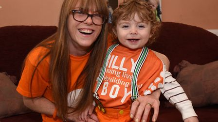 Charleine Mansfield with son Billy ahead of the sponsored walk (Picture: Ken Mears)