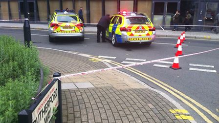 Police have cordoned off Fulton Road (Pic: Aaron Daniel King)