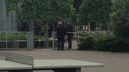 Police in Paradise Park, Holloway, on Wednesday (Picture: Nasreen Halim)