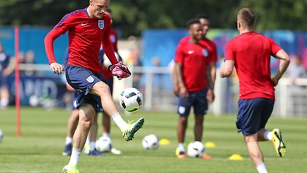 England's Jamie Vardy during a training session at Stade de Bourgognes, Chantilly.