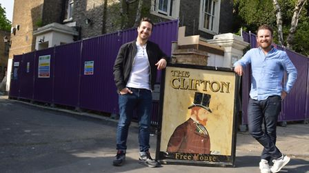 Brothers Ben and Ed Robson outside the Clifton Hotel, Clifton Hill NW8