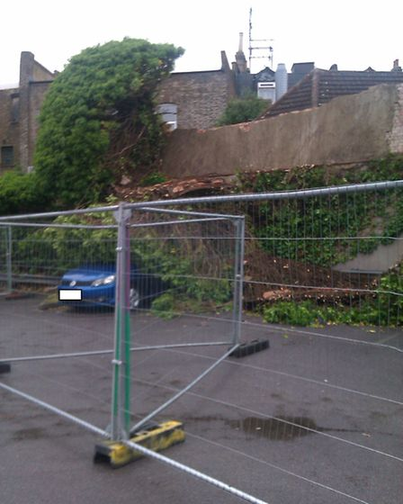 The collapsed wall inside the car park (Pic: Adrian White)