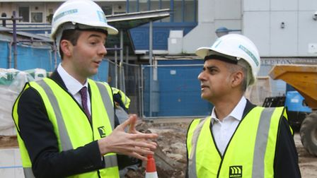 James Murray and Sadiq Khan in the Brunswick Estate, Clerkenwell, during the mayor's election campai