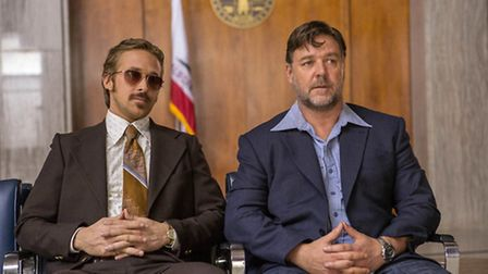 Ryan Gosling and Russell Crowe in THE NICE GUYS. Picture: Daniel McFadden