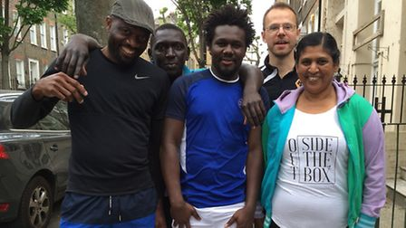 Chris Taylor (back row right) and clients from the Islington Centre for Refugees and Migrants set of