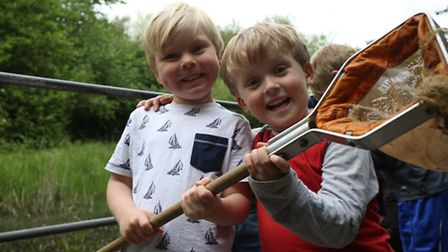 Idris Cartright, four and Samuel Hill, four, take part in some pond-dipping at the event