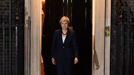 Britain's Prime Minister Theresa May comes out to give a statement outside 10 Downing Street. Photog