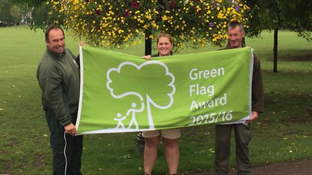 Picture taken last year of Dave Eales, the park's groundsman, with animal keeper Laura Fergi and kee