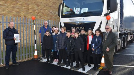 Blind spots are shown on a Heavy Goods Vehicle at the 2019 Crucial Crew event in Lowestoft. Picture: