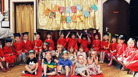 St Thomas's Playgroup pupils at the end-of-year graduation ceremony on Friday. Picture: Dieter Perry