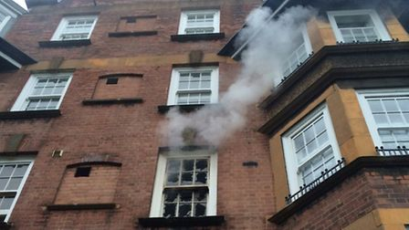 Five people were rescued after a flat fire in the Samuel Lewis Estate, Barnsbury, on Saturday mornin
