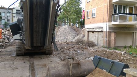 The mountain of rubble at Dover Court