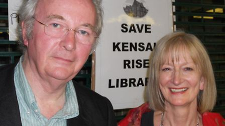 Maggie Gee with fellow author Philip Pullman