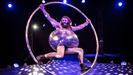Antoine Carabinier-L�pine performs with a Cyr Wheel as part of the Barbu acrobatic troupe. Picture: