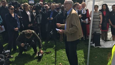 """Islington North MP and Labour leader Jeremy Corbyn addresses a crowd of 400 at the """"Love Islington"""""""