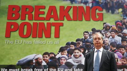 Ukip leader Nigel Farage launching the referendum poster featuring migrants queuing to get into the