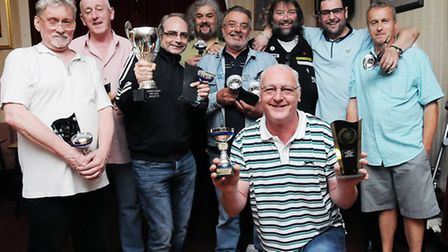 Archway & District League champions Royal Oak B with former world champion Andy Fordham (back, third